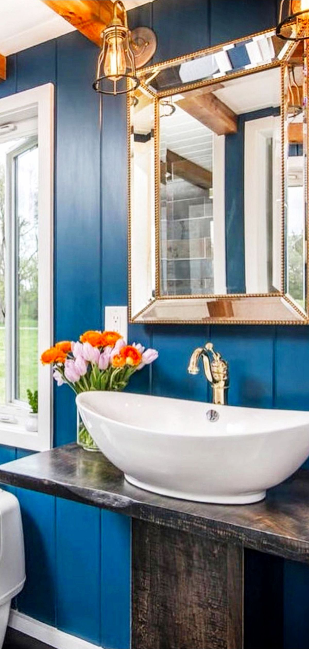Love this blue bathroom great decorating idea for  small is actually also inside tiny houses pictures of and out videos rh pinterest