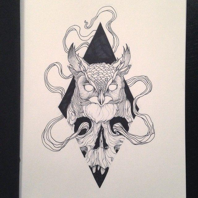 Black Ink Owl Drawings Tumblr Google Search Tattoo Tattoo