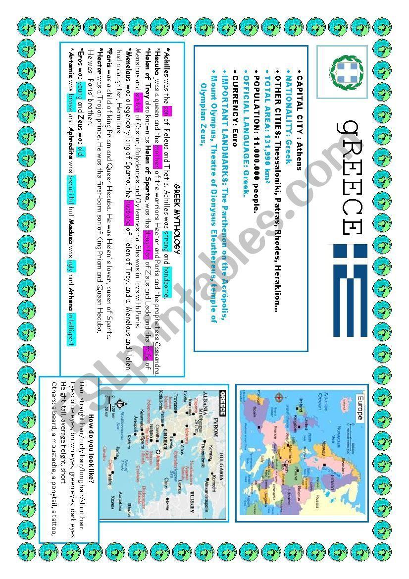 Greece Study Sheet Esl Worksheet By Evafer Vocabulary Worksheets Worksheets Study
