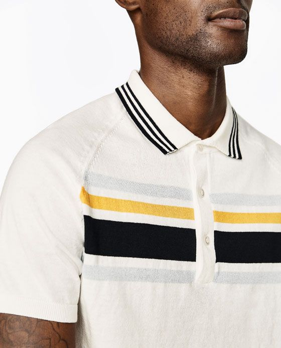 Image 4 Of Striped Polo Shirt From Zara Striped Polo