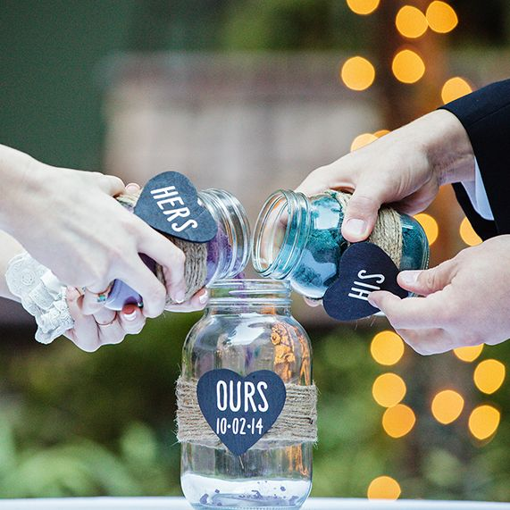 Wedding Ideas Using Mason Jars: Rustic Inspired Unity Sand Ceremony In Glass Jars At