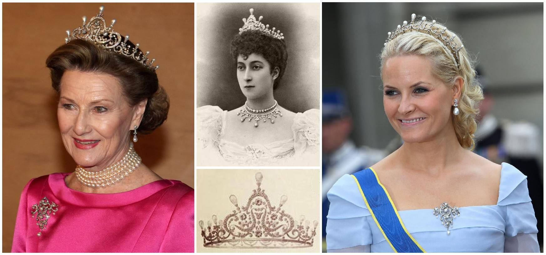 Queen Maud's Pearl and Diamond Tiara. Given to her by her parents when she married Carl of Denmark in 1896 (the future K Haakon VII of the newly independent Norway). Designed with diamond scroll and festoon motifs topped with pearls, it has a large detachable central element. In 1995, the piece was sent to Garrard in London to be cleaned and was stolen. It was never been recovered. Garrard made a replica for the family, and that´s the tiara that has been worn ever since