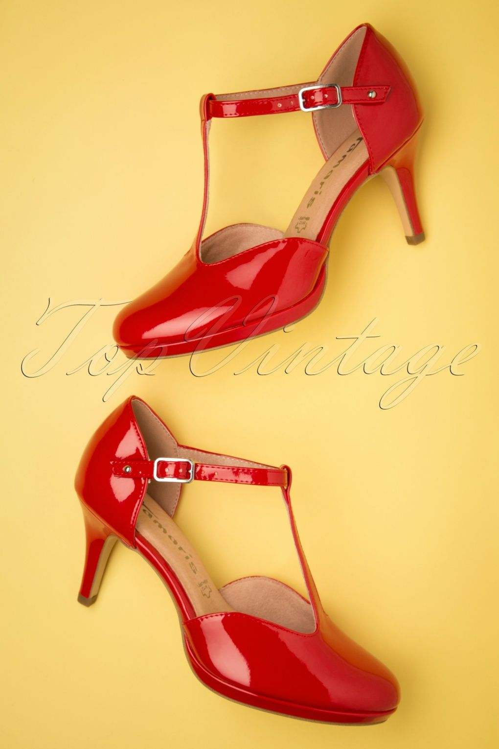T Strap 50s Jenny In 2019Look Pumps Chili Lacquer Pin Up FlcJTK13