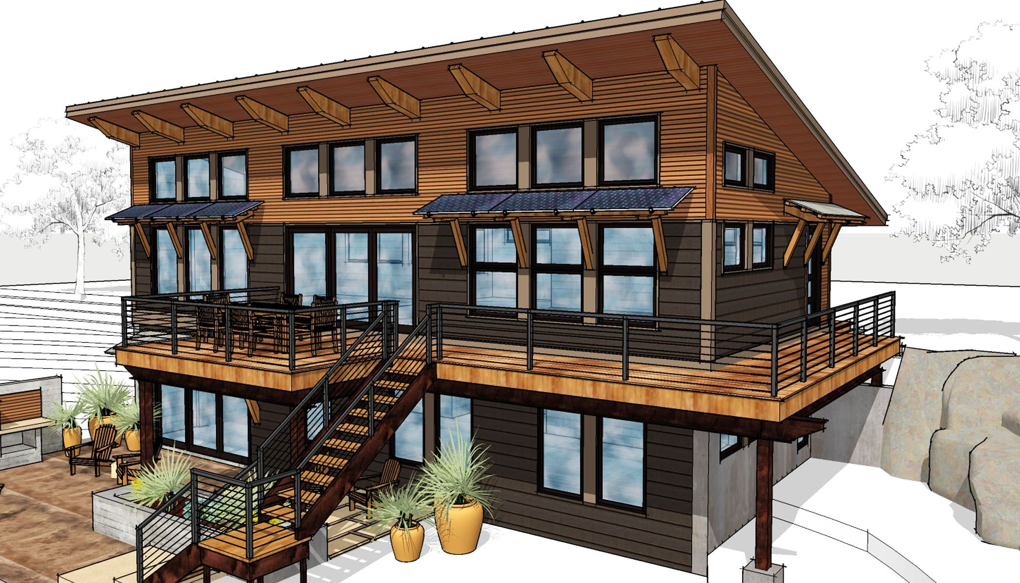 The Full View Of The Wondrous Window Passive Solar Side Of The Pearce Http Www Timberbuilt Com Buildin Sip House Barn House Plans Contemporary House Plans