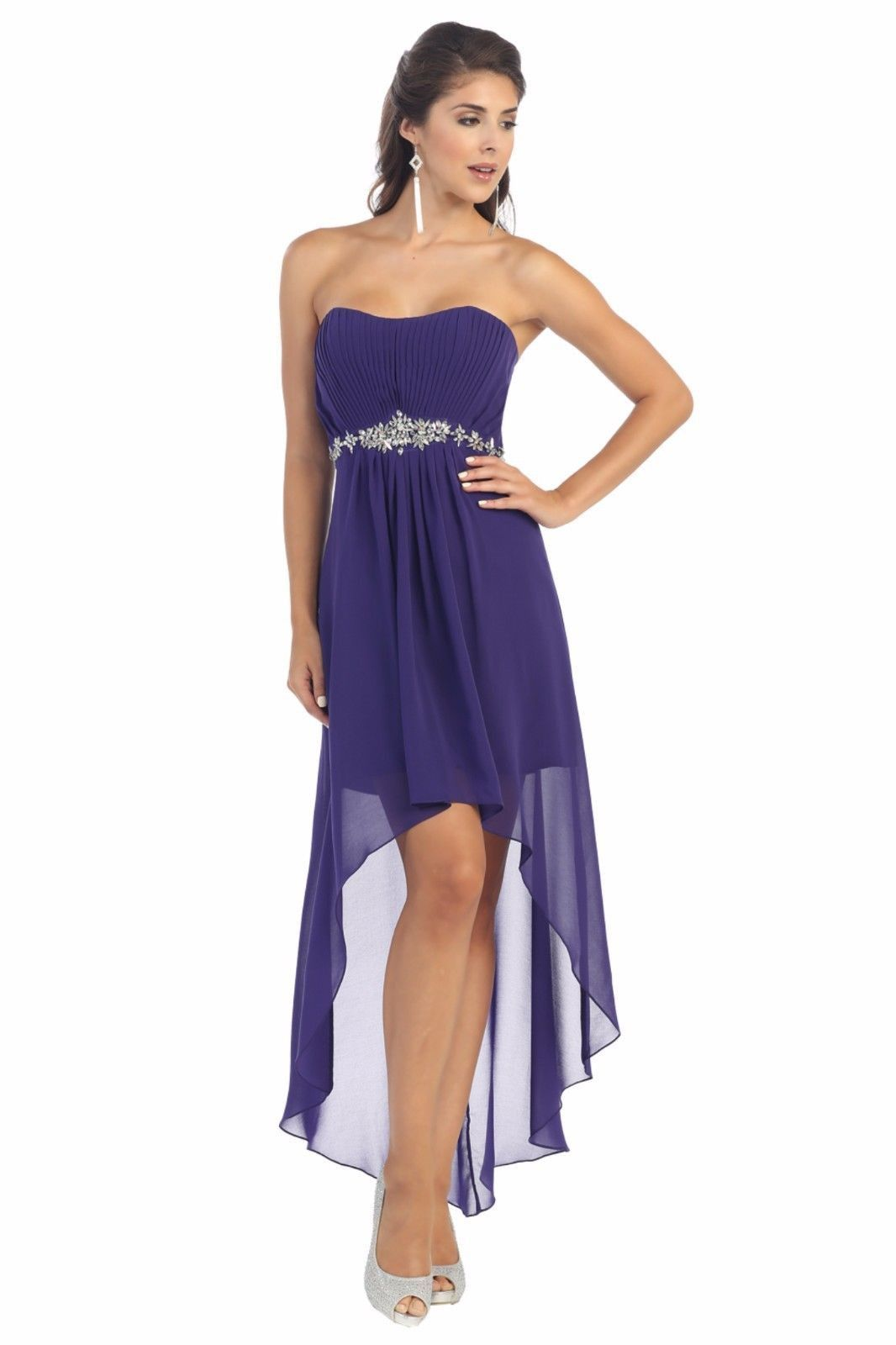 High low formal bridesmaids plus size prom dress high low