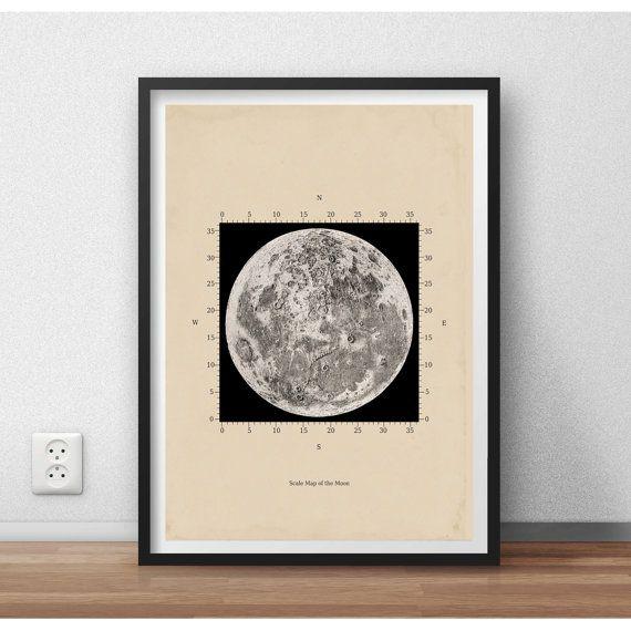 Schaal kaart van de maan astronomie Print door TheCuratorsPrints