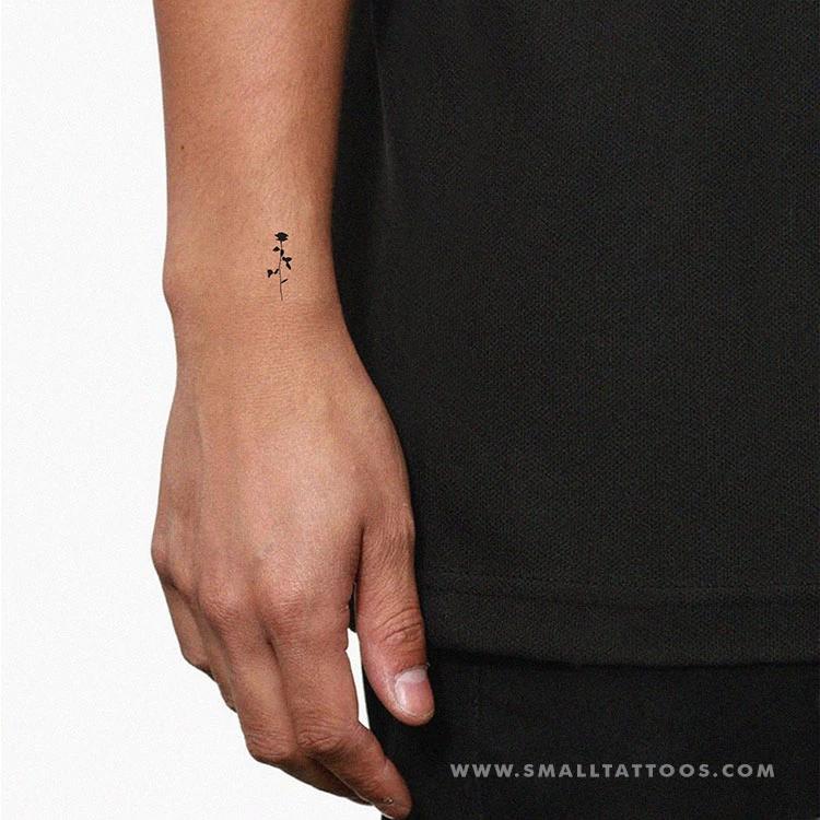 Small Black Rose Temporary Tattoo (Set of 3)