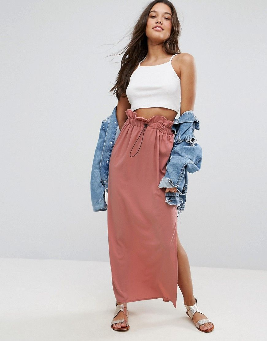 58d3b554cc ASOS Maxi Skirt with Toggles and Paperbag Waist - Pink | Cute ...
