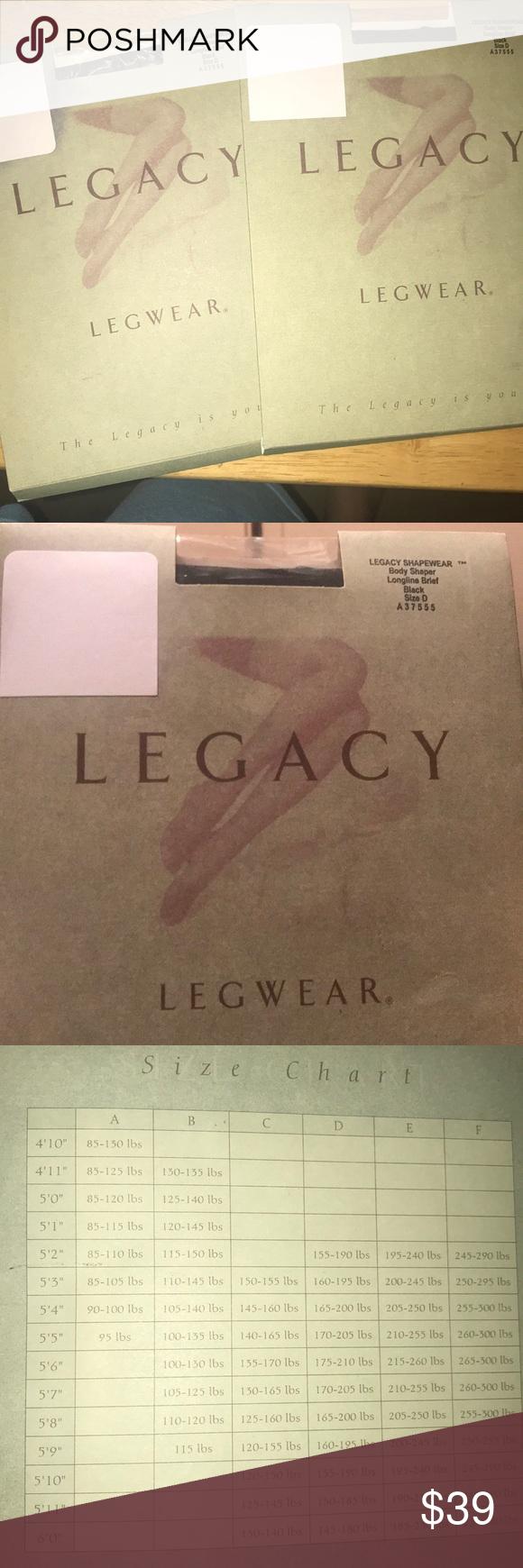 Legacy Legwear Bodyshaper Shapewear Lot Of 2 Lot Of 2 Legacy Legwear Shapewear Body Shaper Longline Brief Black Size D Fits Shapewear Body Shapers Legwear