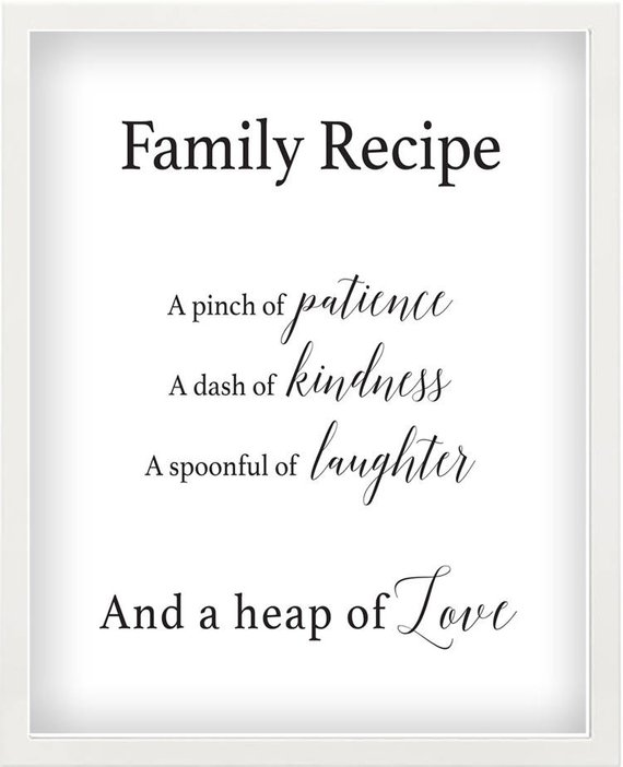 Family Recipe Printable Wall Art Kitchen Word Art Instant Download Typography Black White  sc 1 st  Pinterest & Family Recipe Printable Wall Art Kitchen Word Art Instant ...