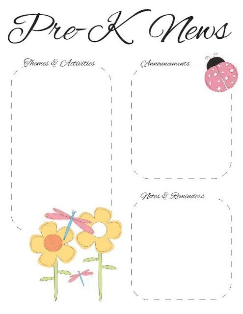 Spring PreK Newsletter Template  The Crafty Teacher  Classroom
