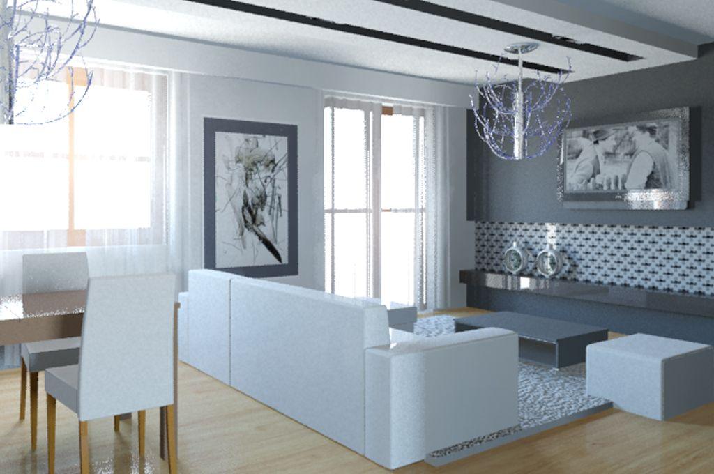 aran acja salonu z jadalni wystr j nowoczesny w kolorach biel szary projekt wn trza 9054651. Black Bedroom Furniture Sets. Home Design Ideas
