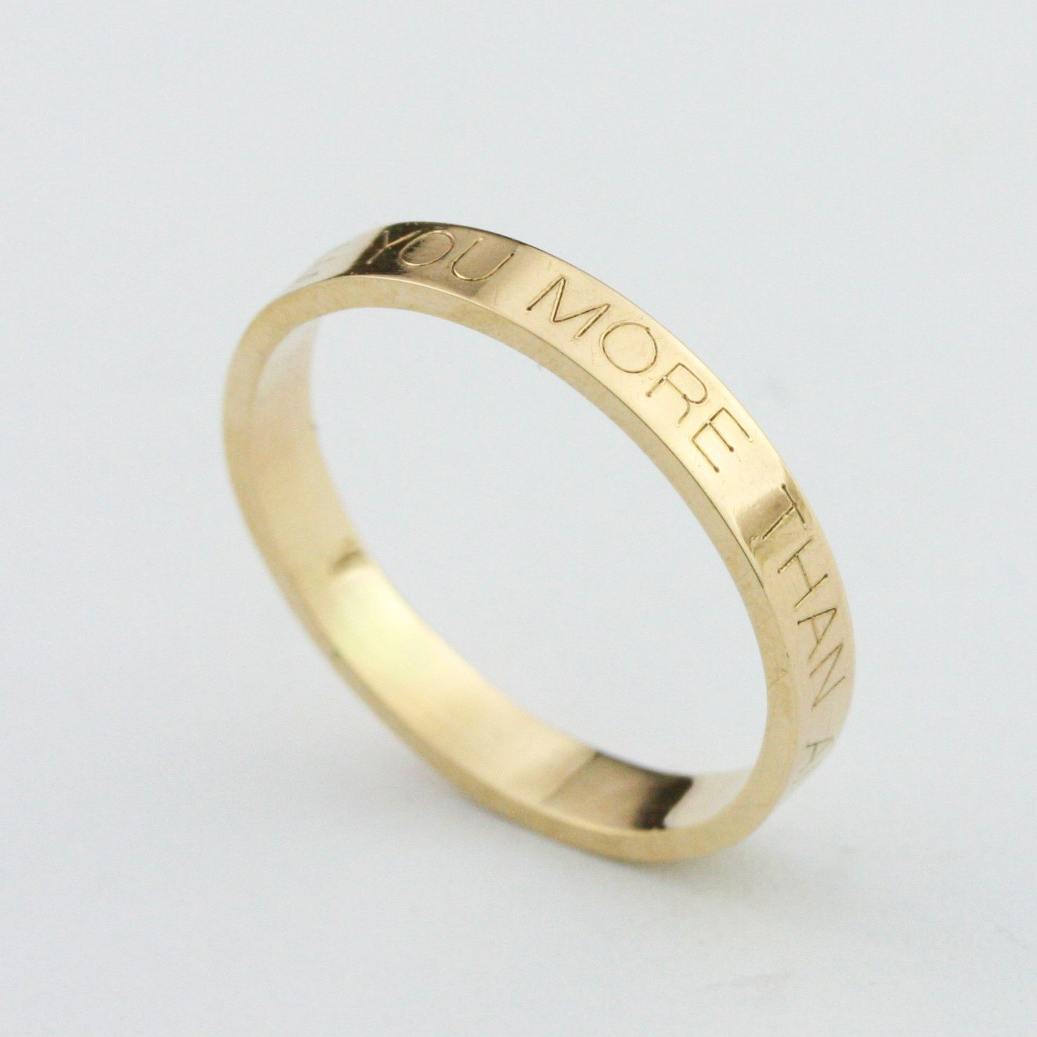 3mm Personalized Engraved Stacking Ring 14k (With images