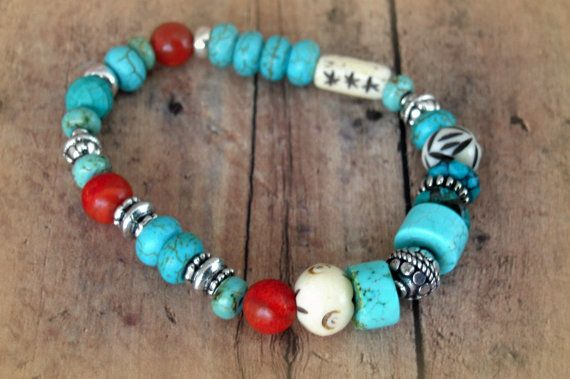 Native American Inspired Rustic Turquoise Carved by Cheshujewelry, $25.00
