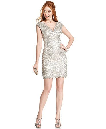 Macys Cocktail Dresses Sleeve Sequined Lace Cocktail Dress