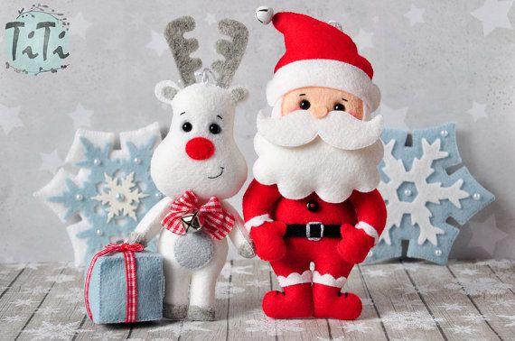 Christmas Ornaments Set Of 7 Christmas Ornaments Felt Winter - Adornos-de-navidad-con-tela