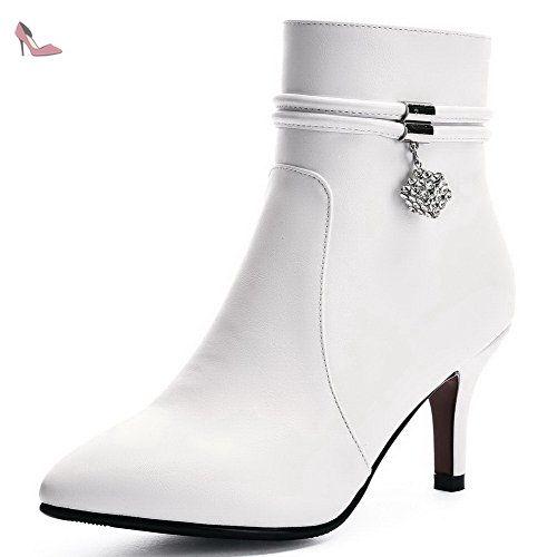AgooLar Femme Pointu Mosaïque Haut Bas à Talon Haut Bottes, Blanc, 40 ,  Chaussures