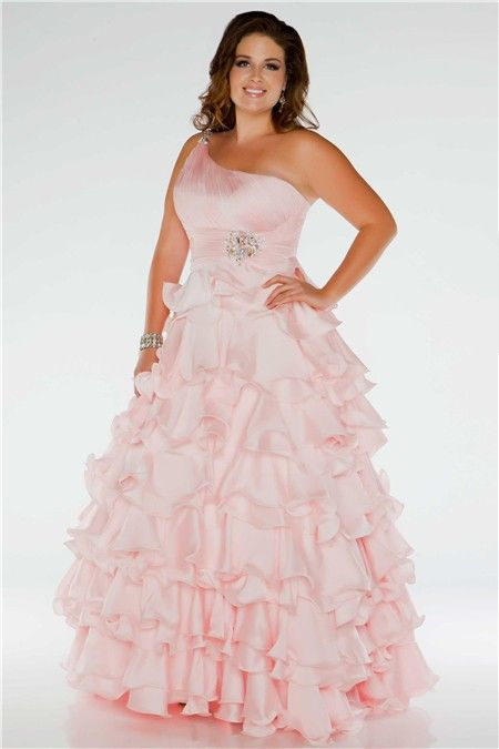 Pretty Ball Gown One Shoulder Long Blush Pink Silk Ruffles Plus Size ...