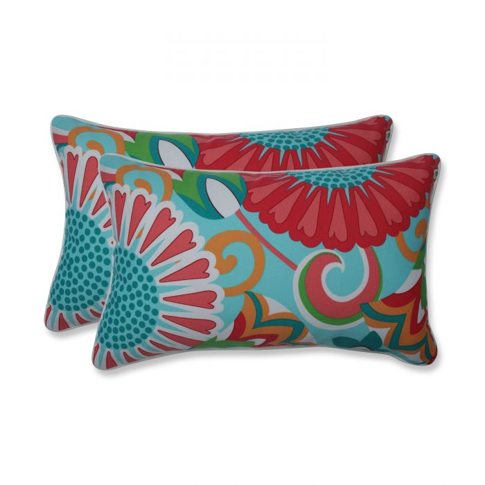 Outdoor Indoor Sophia Turquoise Coral Rectangular Throw Pillow Set Of 2 In 2020 Oblong Throw Pillow Throw Pillows Perfect Pillow