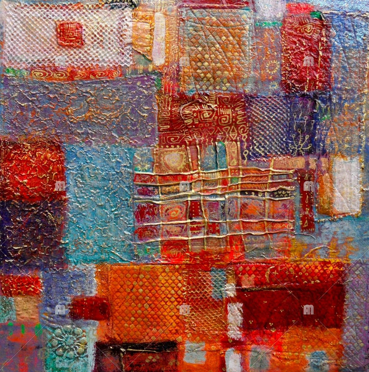 Bazaar | dorothy marczinko | Foundmyself (acrylic over layered textiles)