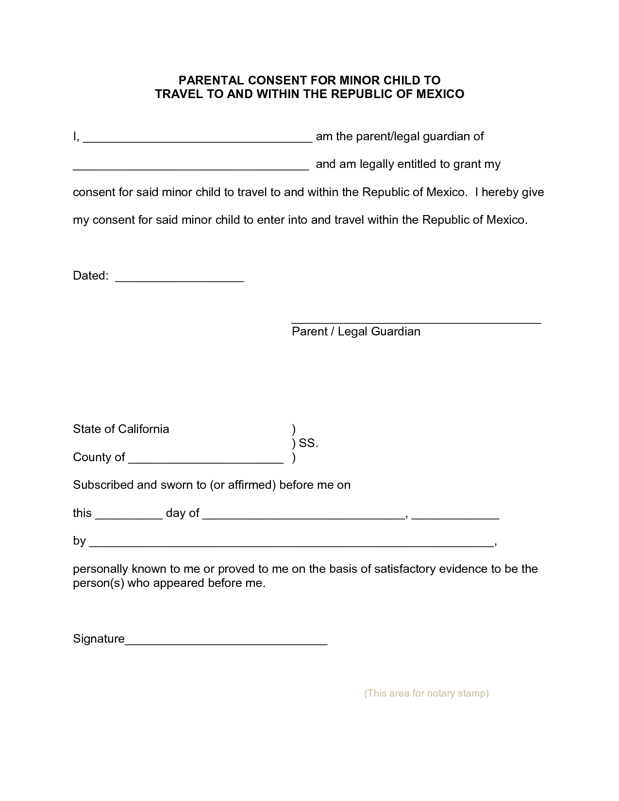 parental travel consent parent consent letter for minor travel authorization format sample 8