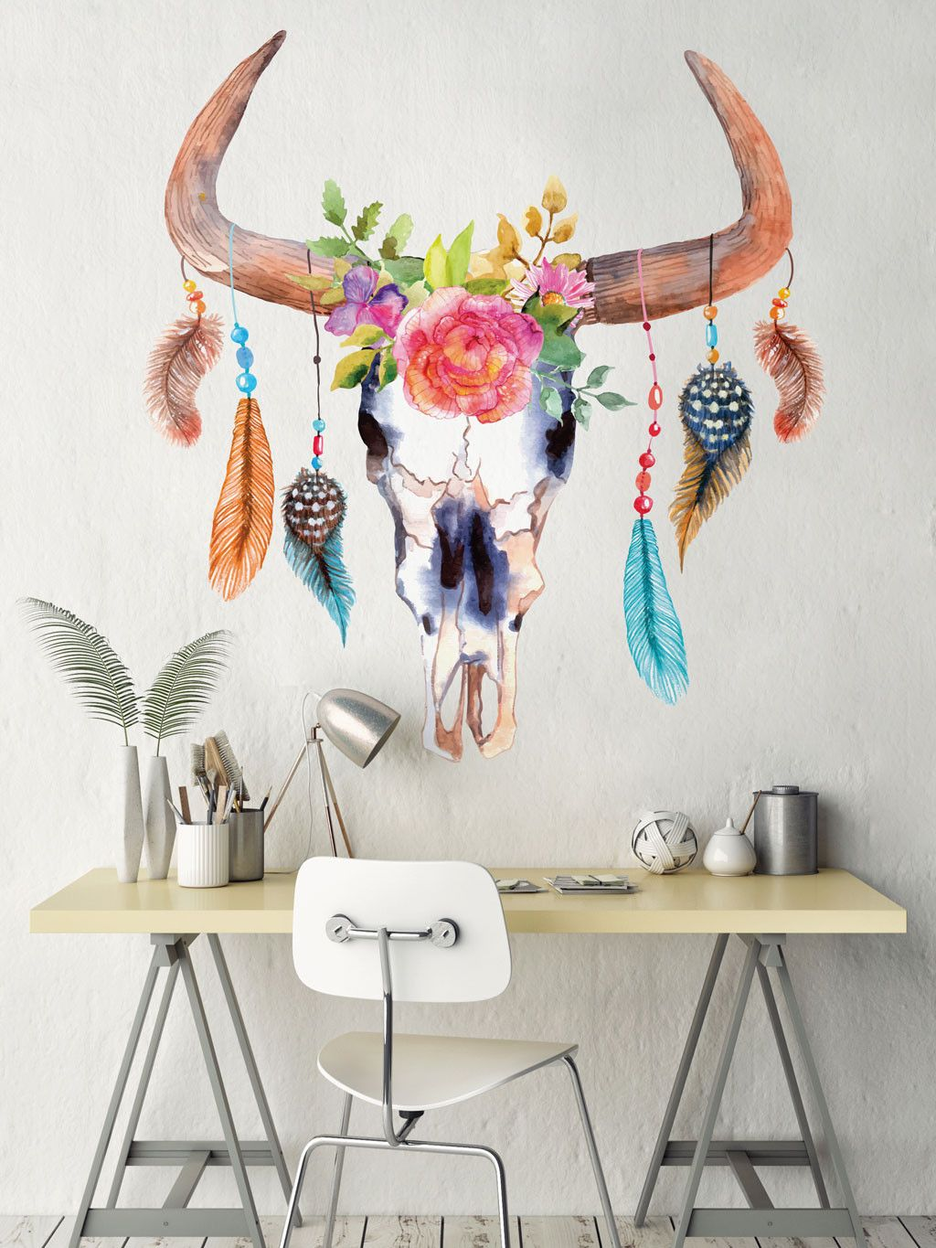 This Chic Cow Skull Decor Will Add Color And Cl To Your Walls 1 Cutout Decal Of A Bull With Flowers Feathers Available In 3