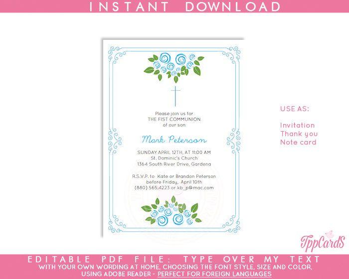 Instant Download 4x6 Blue Cross Baptism Invitations, DIY Editable - invitation templates holy communion