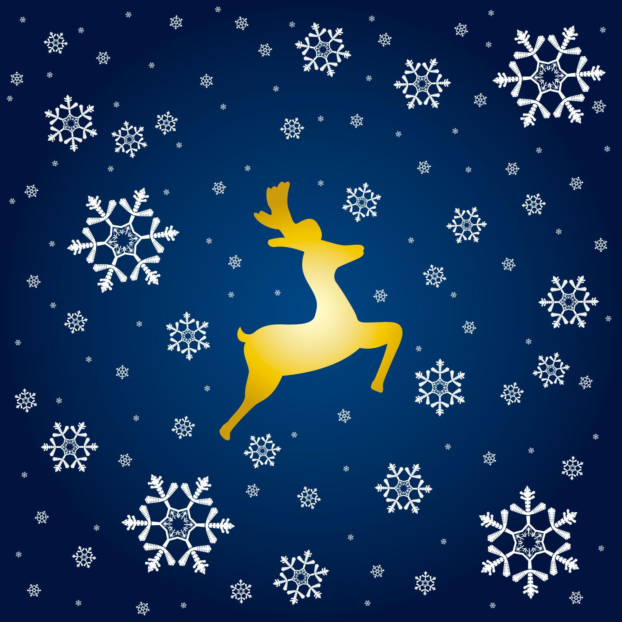 画像サンプル壁紙:雪とトナカイ クリスマス イラスト