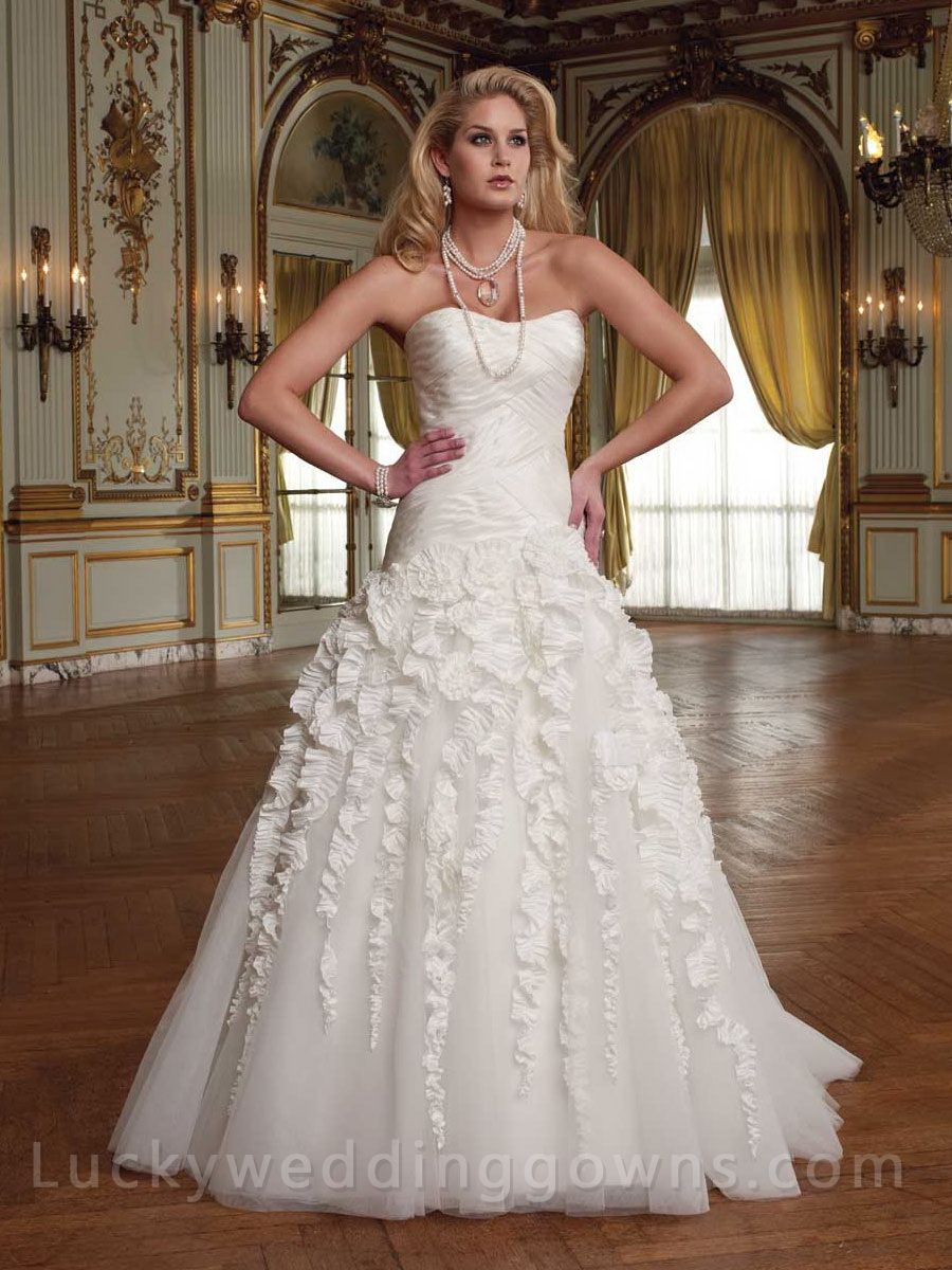 Cheap unique wedding dresses  Taffeta and Tulle Strapless Wedding Dress with Cascade Skirt