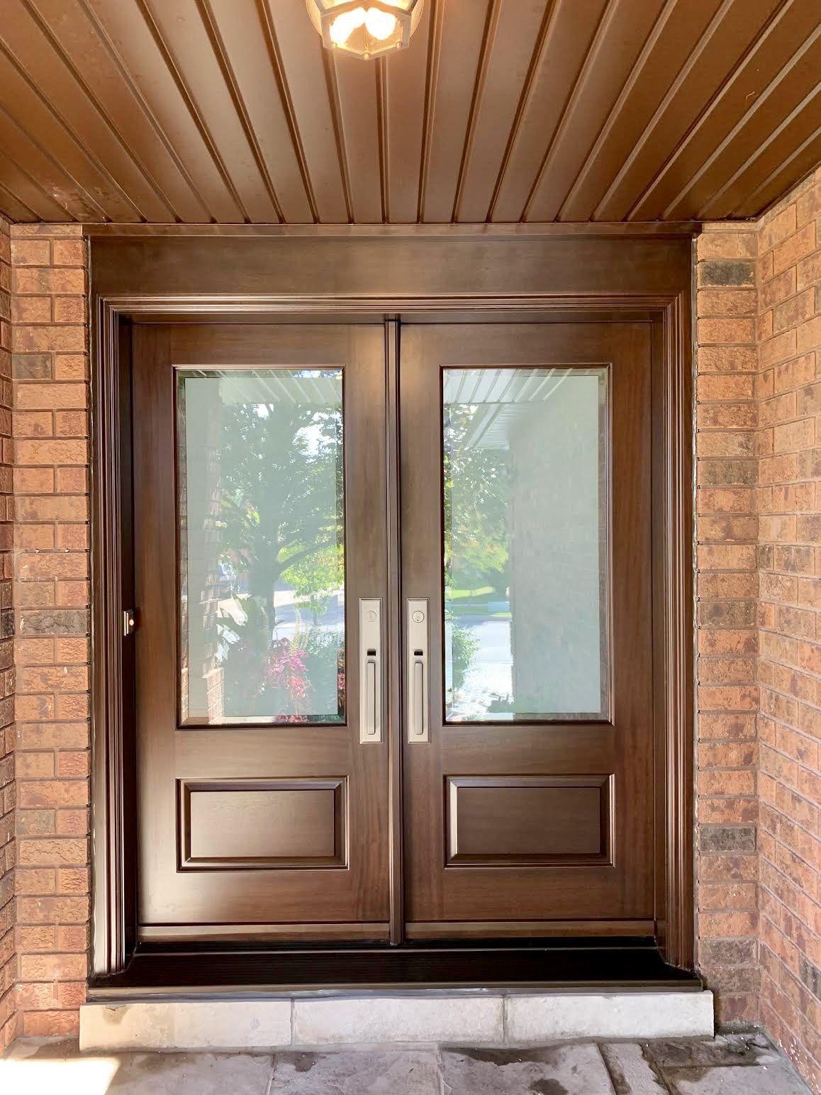 Stunning Custommade Solidmahogany Amberwoooddoor Double Door With Gunstock Stain Sandblasted Glass With Custom Wood Doors Entrance Door Design Wood Doors