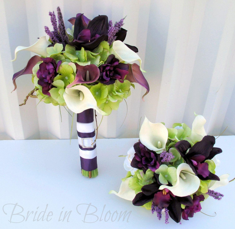 Plum Wedding bouquet 3 piece set Real touch Wedding