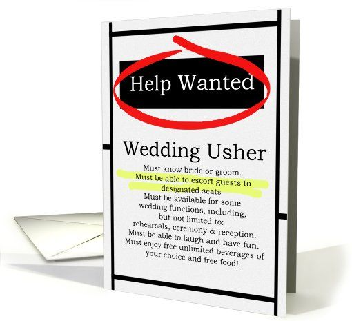 Humorous wedding usher invitations help wanted ad cards wedding aj and luke humorous wedding usher invitations help wanted ad cards stopboris Choice Image