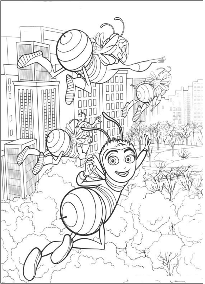The Bee Movie Coloring Page Bee Coloring Pages Bee Movie Coloring Pages