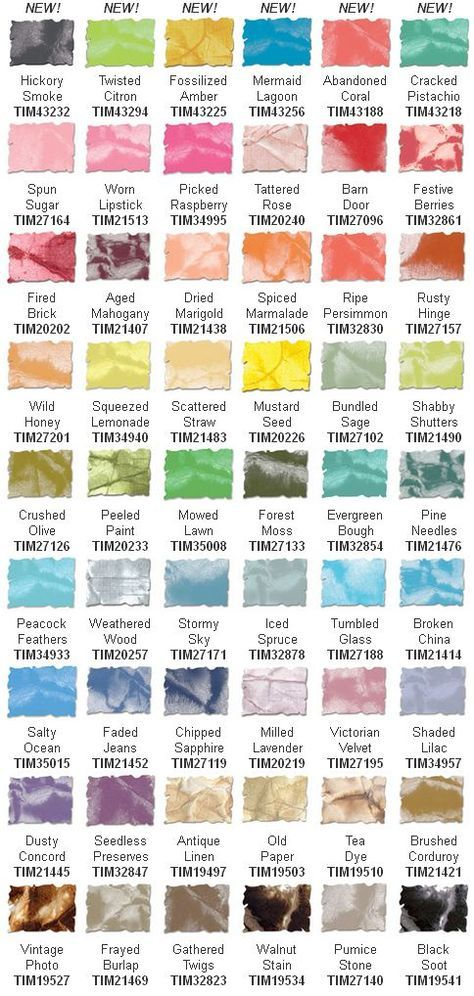 New color swatch chart for Tim Holtz Distress Inks stamping