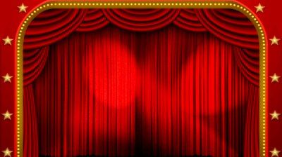 High Definition Clip Of An Opening Red Stage Curtain Animated