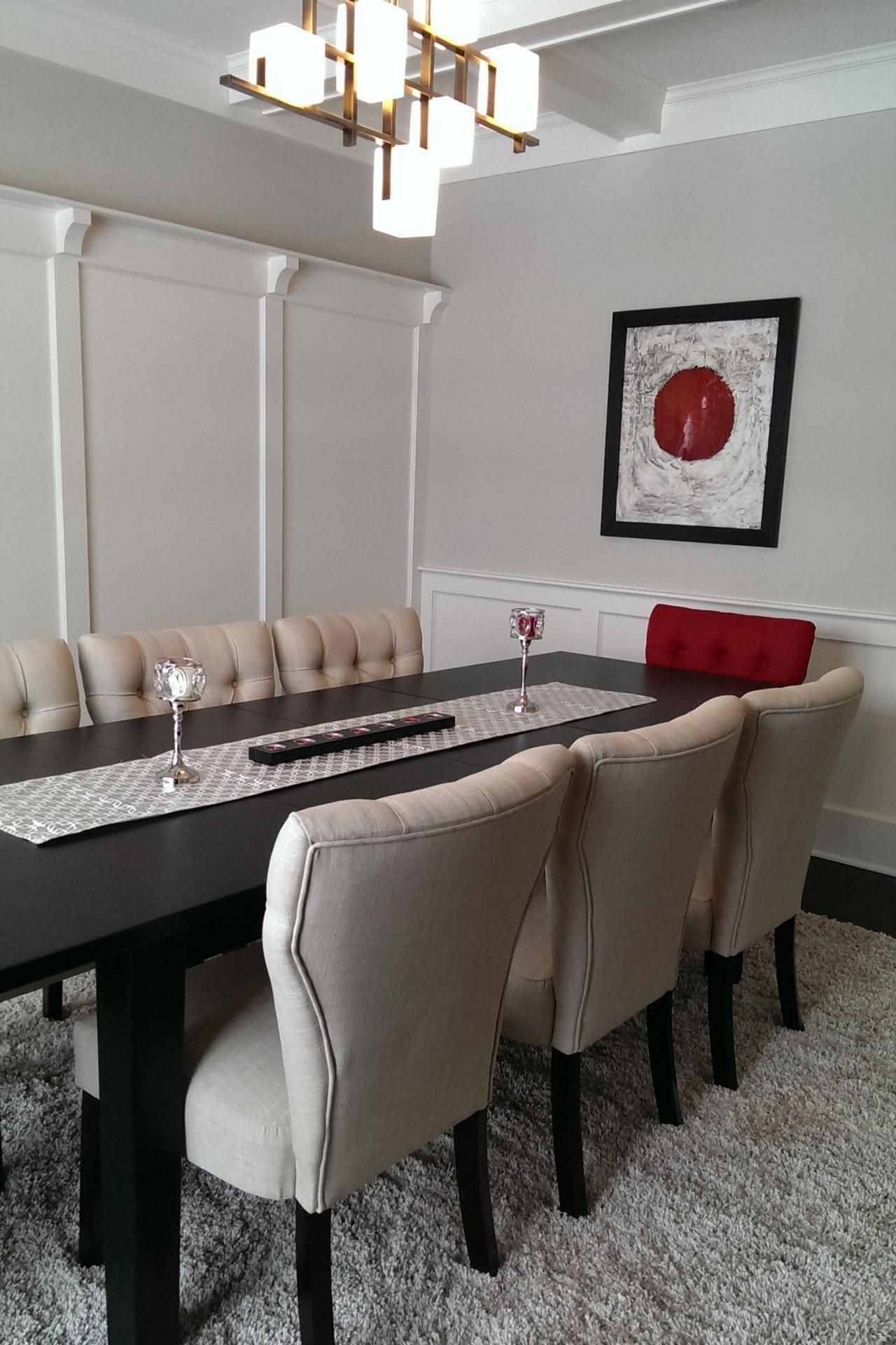 Transitional Neutral Dining Room With Red Accent Chair Modern Dining Chairs Dining Room Accent Chairs Dining Chairs Modern Design Dining room accent furniture