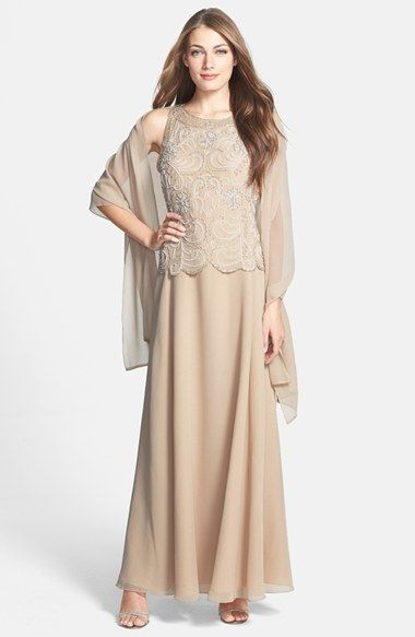 16d2f7a04a6b J Kara Embellished Bodice Chiffon Gown & Shawl (Regular & Petite) available  at #Nordstrom