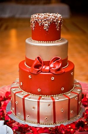 Red Silver Metallic Cake California Weddings Http Www