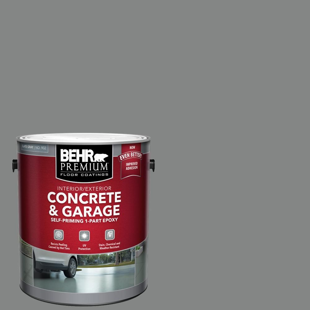 Behr Premium 1 Gal Slate Gray Self Priming 1 Part Epoxy Satin Interior Exterior Concrete And Garage Floor Paint 90201 The Home Depot Garage Floor Paint Painted Floors Garage Floor