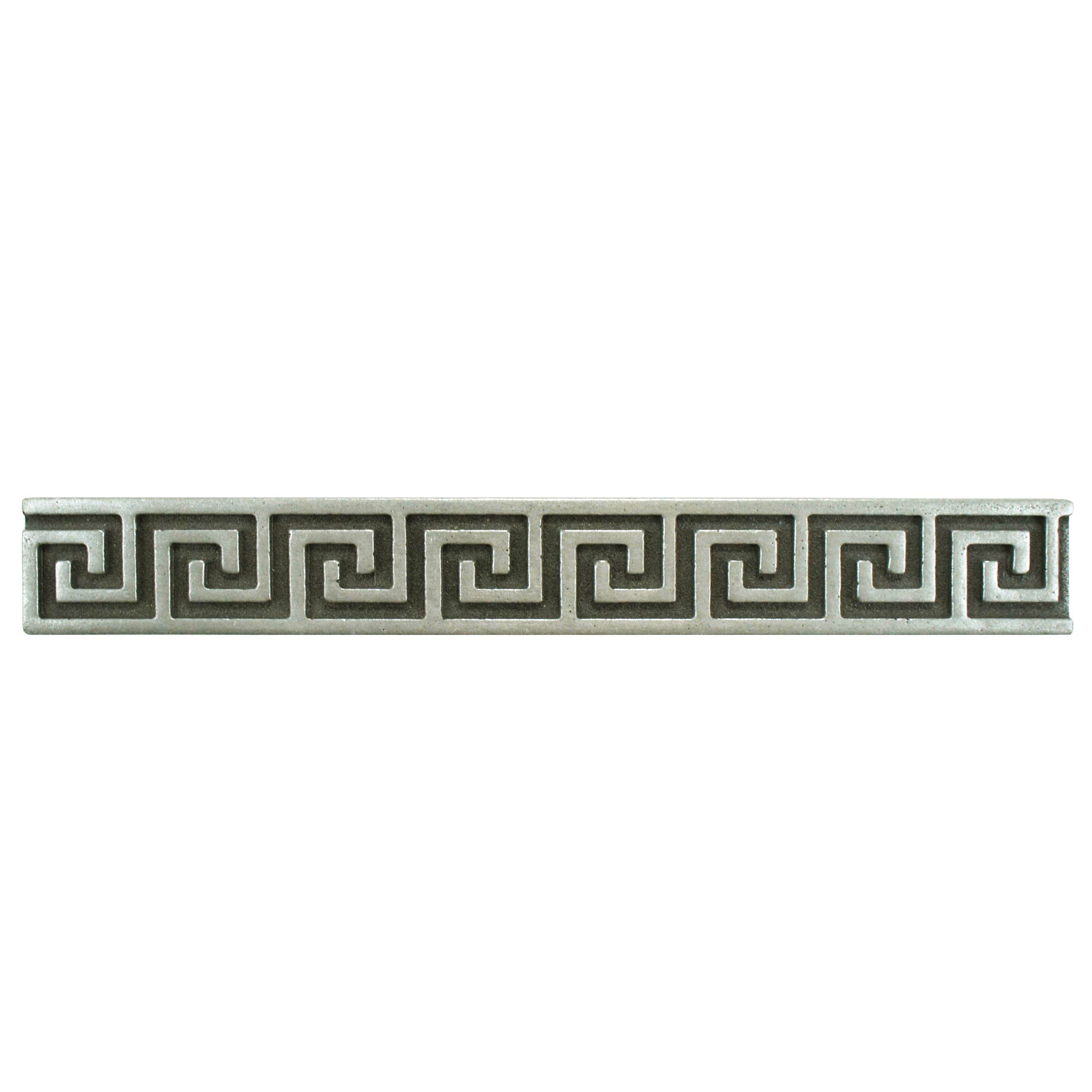 SomerTile 1x8-inch Courant Greek Key Pewter lic Liner Trim Wall Tile