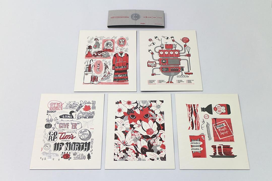 """5 Canadian artists, 5 themes, 1 collection: The Canadianist (available at greetingsfrom.ca)  I drew the robot."""