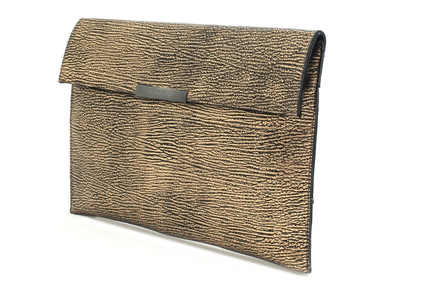 Gold leather clutch by Hispanitas with ref. MBI52202