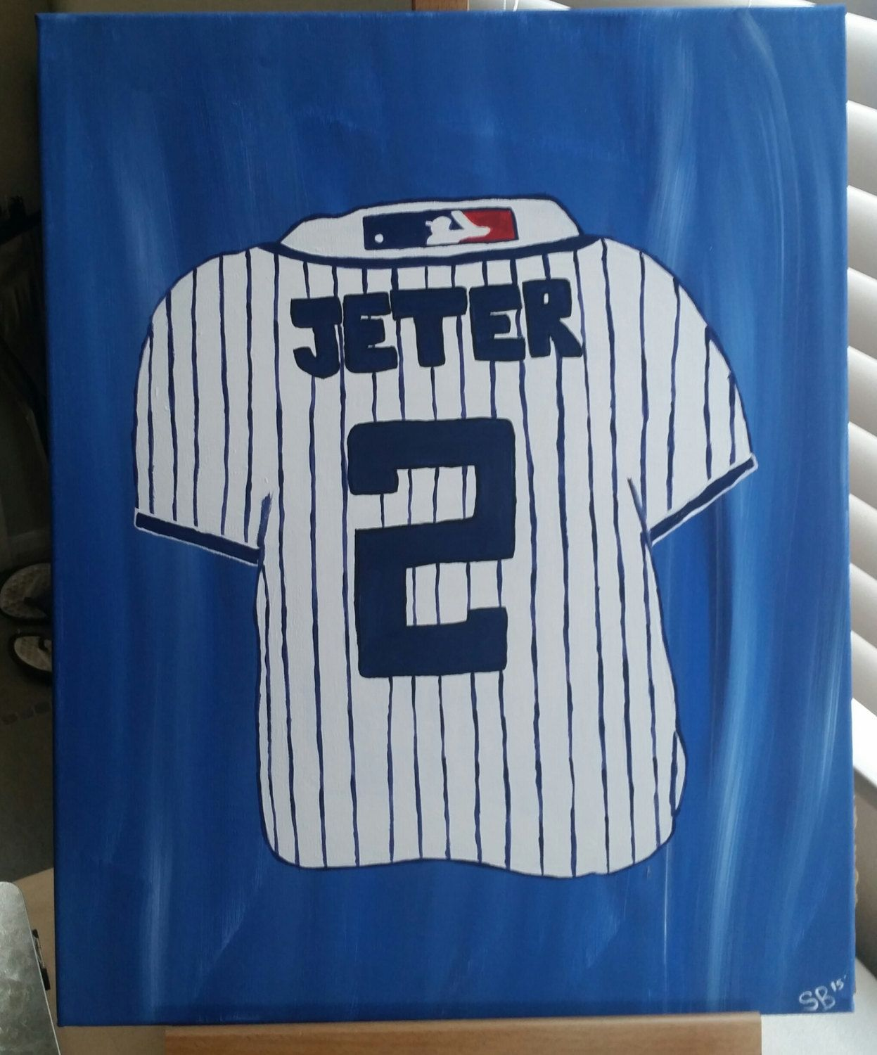 Hand painted wood framed canvas - custom order baseball jersey by SimplyShanCreations on Etsy