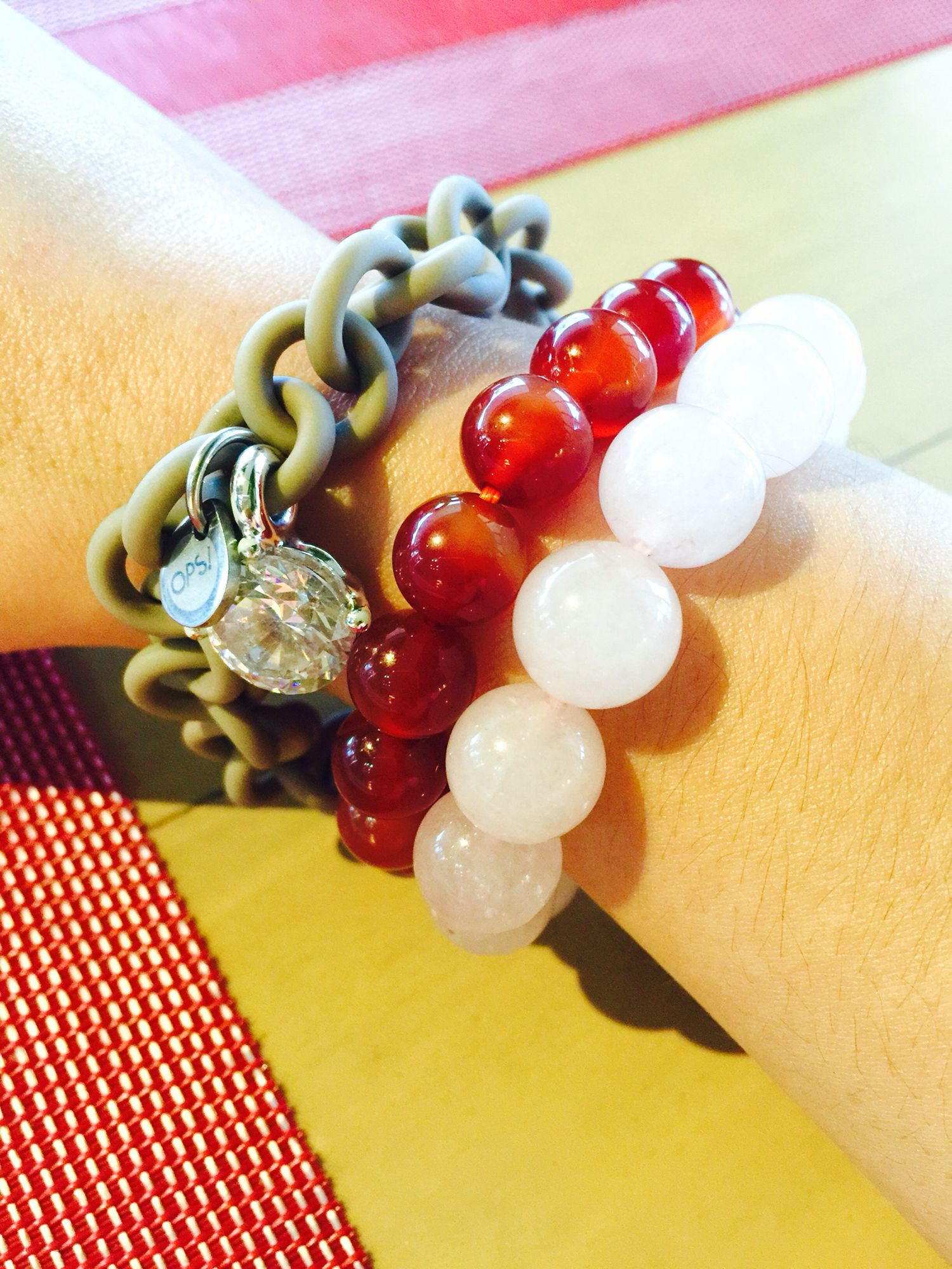 Wearing my ever favorite Love stone, Rose Quartz and Ops bracelet. The one in the middle is a Carnelian, recently bought it for a specific purpose