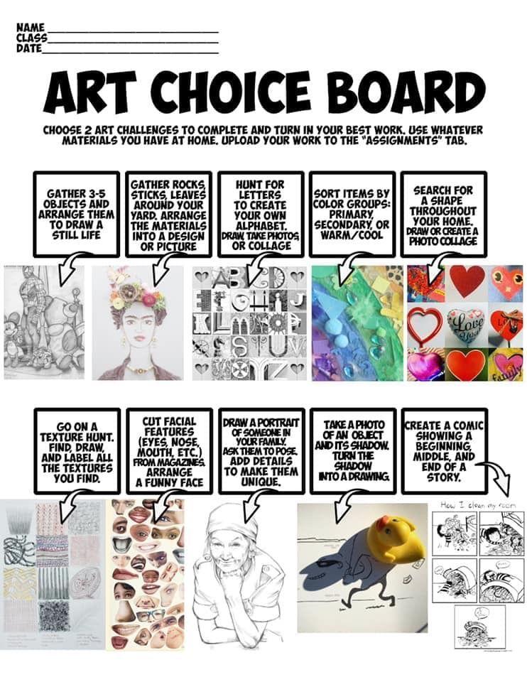 Choice board art classroom art lessons elementary