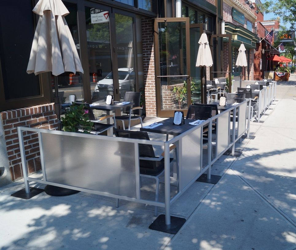 Sidewalk Cafe Barriers And Restaurant Barriers · Restaurant PatioPub  DesignSidewalkBreweryPatio Fence