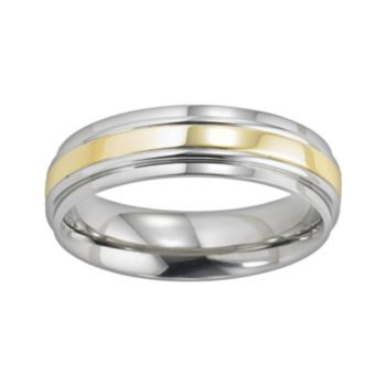 Cherish Always Stainless Steel Two Tone Wedding Band
