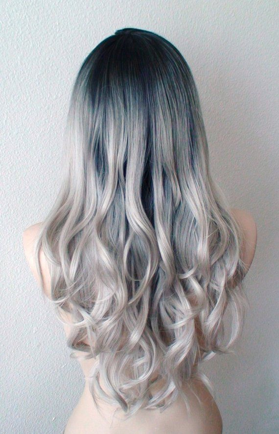 Gray Wig Lace Front Wig Ombre Wig Dark Roots Pastel