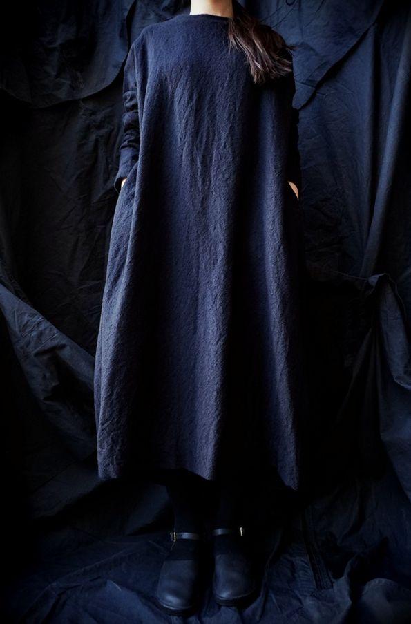 [ 08sircus ] WOOL VIYELLA FULLING DRESS www.lancah.com