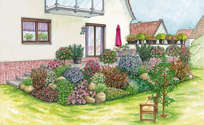 1 Garten 2 Ideen Gestaltungsvorschlage Fur Eine Erhohte Terrasse Terrasse Bepflanzen Erhohte Terrasse Bepflanzung